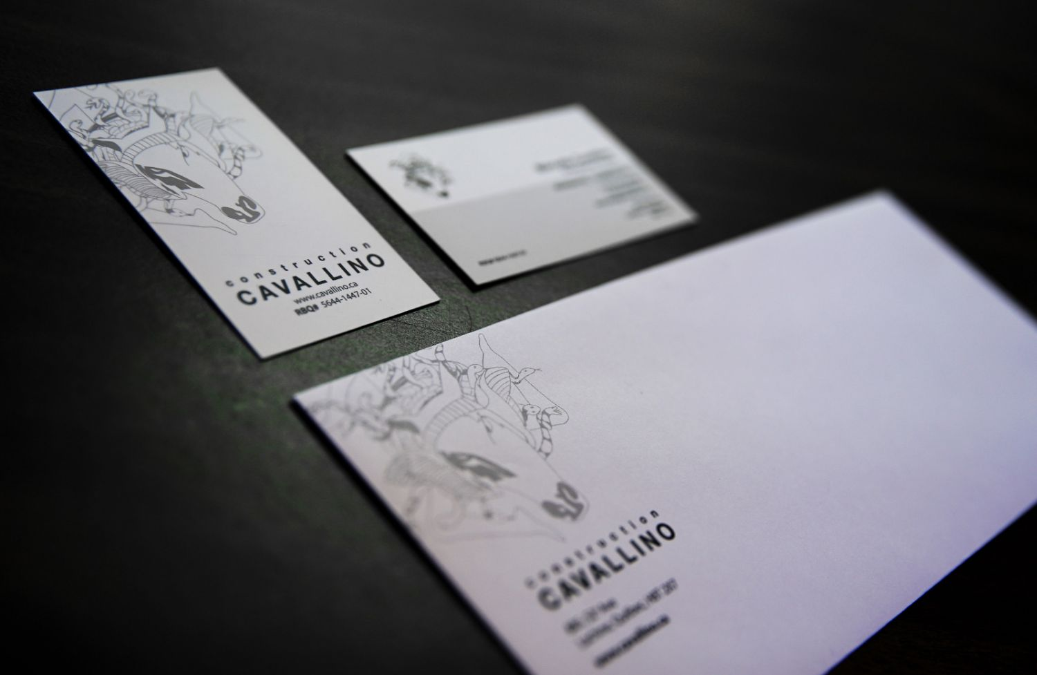 Cavallino construction business cards and envelopes